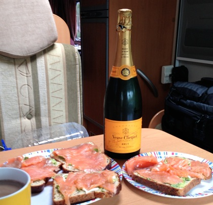 Glamping with a bottle of bubbly and smoked salmon on toast!