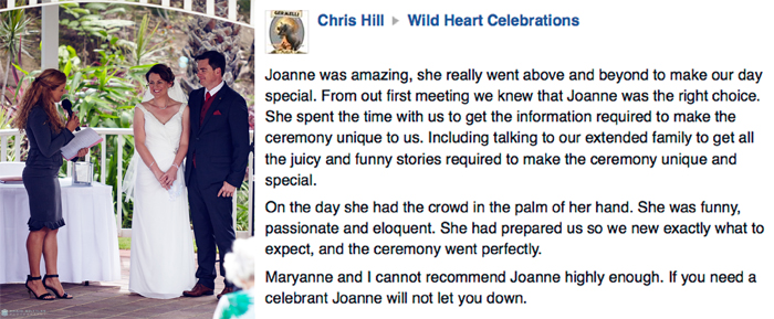 Testimonial Joanne Armstrong - Margaret River Marriage Celebrant Chris and Maryanne