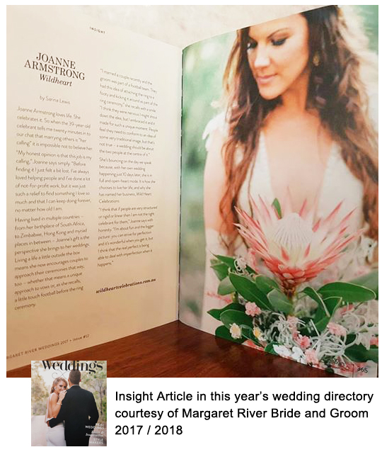 Margaret River Wedding Celebrant Joanne Armstrong Insight mrgb