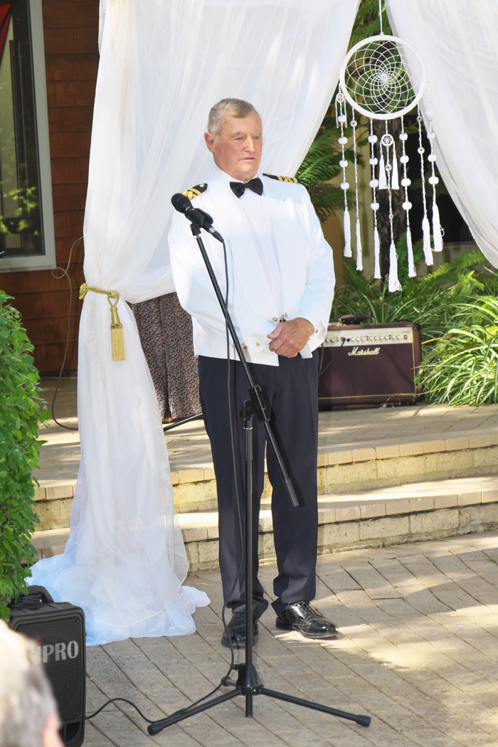 Jim looking pretty nervous - ha ha I love a nervous groom — at Ramada Resort Dunsborough.