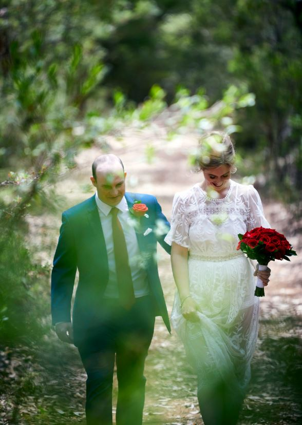 Cool, happy, relaxed forest wedding
